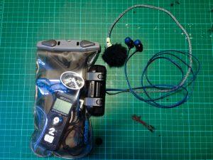 Audio recorder in waterproof bag