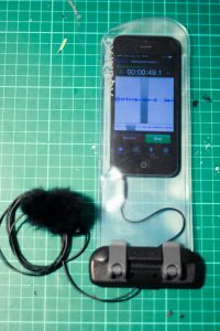 Smartphone in waterproof bag.