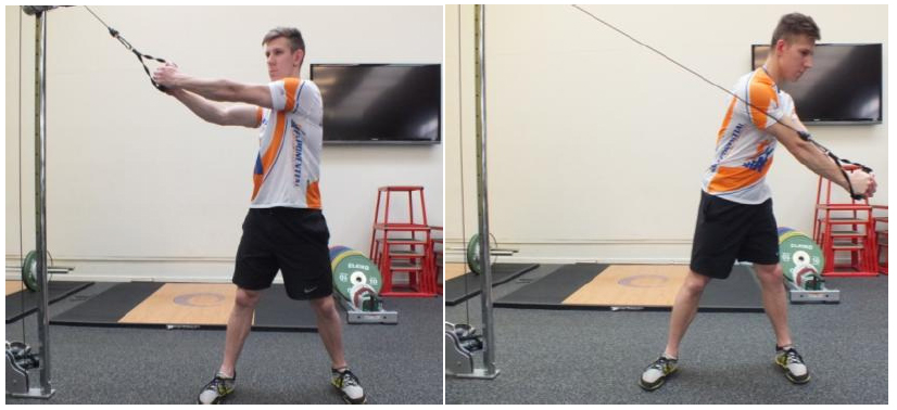 Matty Graham demonstrates a strength training exercise for kayakers.