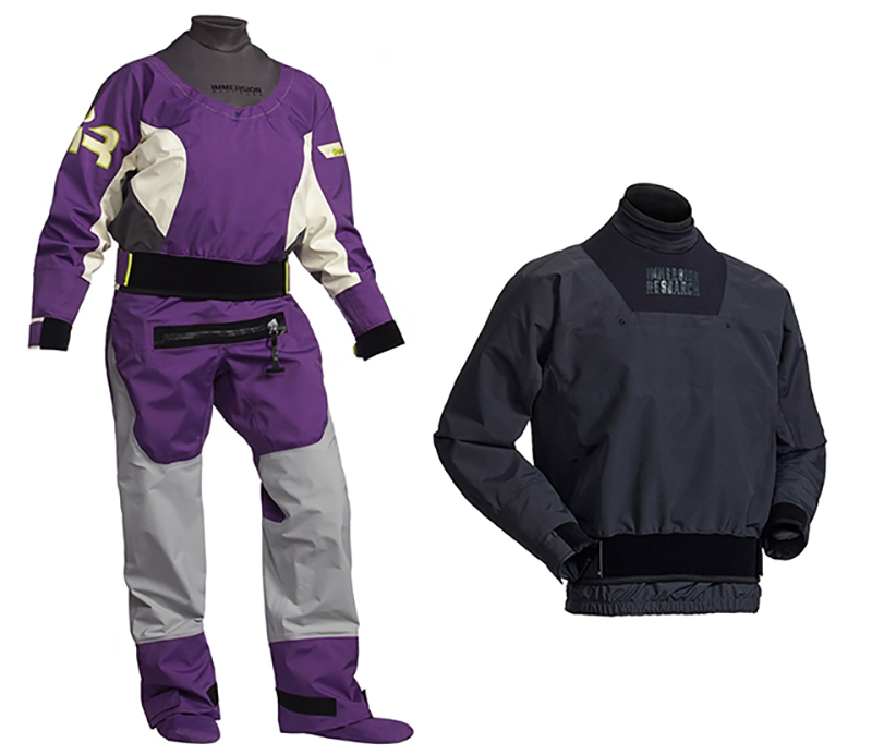 Immersion research devil's club dry top and purple and white Shawty Dry suit