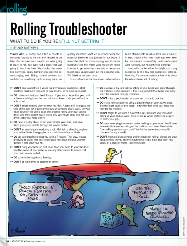 PDF with illustrations and details on how to roll a kayak.