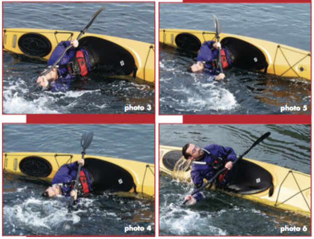Images showing the steps to staying upright in a sea kayak.