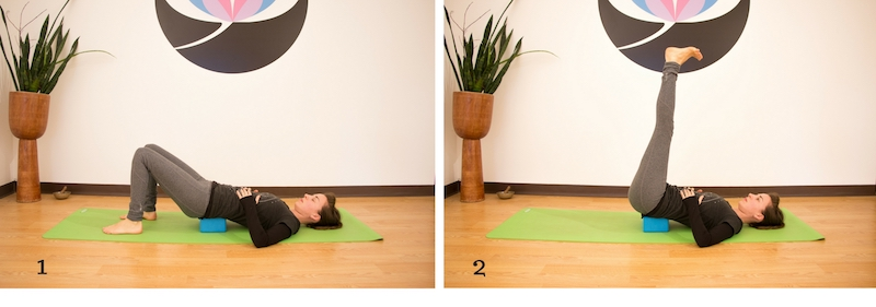 Supported Bridge pose, a useful yoga pose for kayakers in the off season