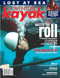 Cover Shot of the Adventure Kayak Magazine featuring articles on mastering the kayak roll.
