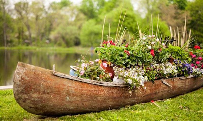A canoe used as a garden planter.