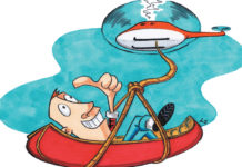 cartoon of man being lowered out of a helicopter in a canoe