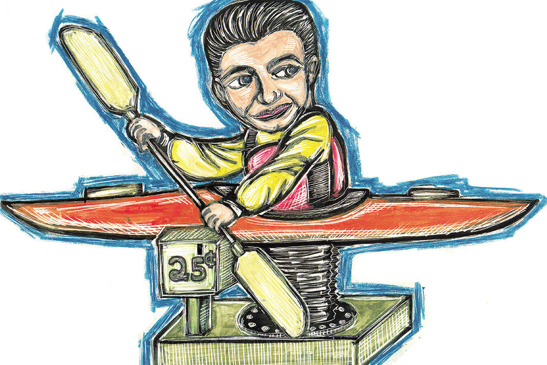 cartoon of a man in a toy kayak