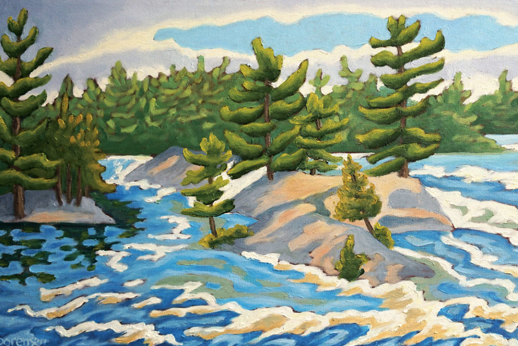 painting of the Madawaska river by canoe