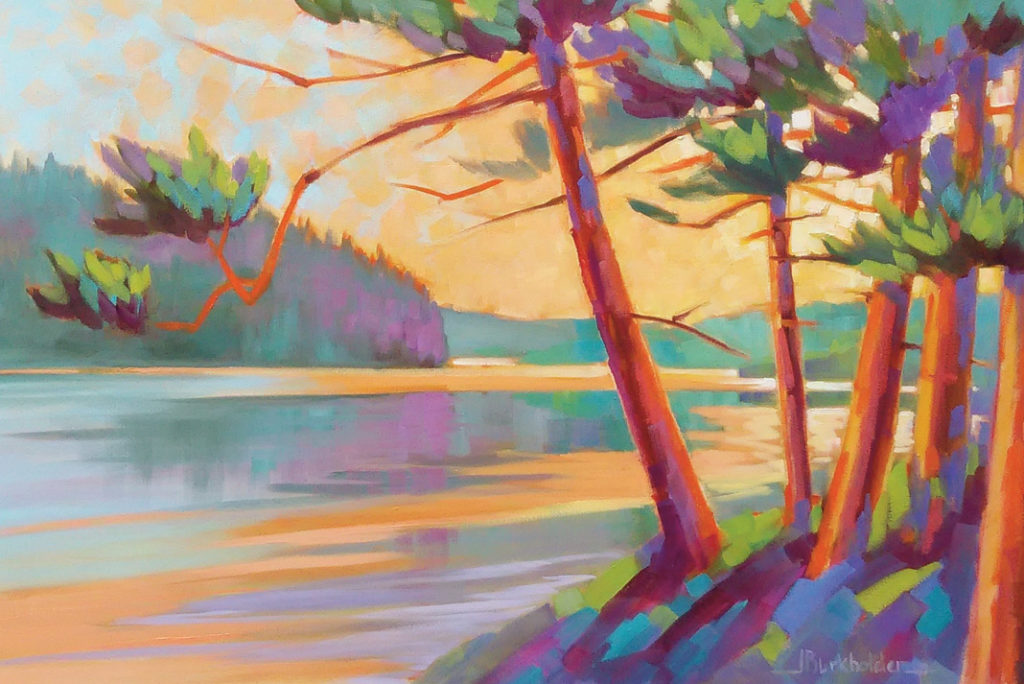 painting of summer colors by canoe