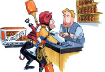 cartoon of man buying a lot of paddling safety gear