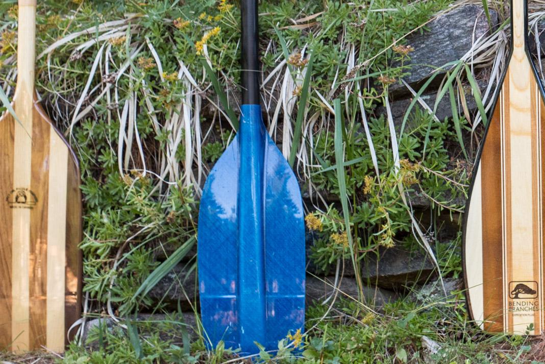 plastic blue canoe paddle