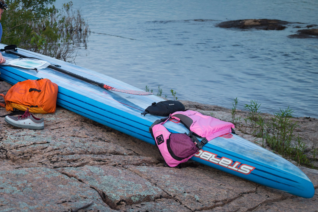 paddleboard covered in gear