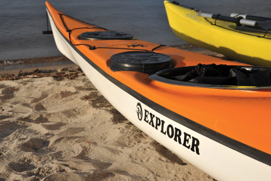 orange sea kayak with Explorer