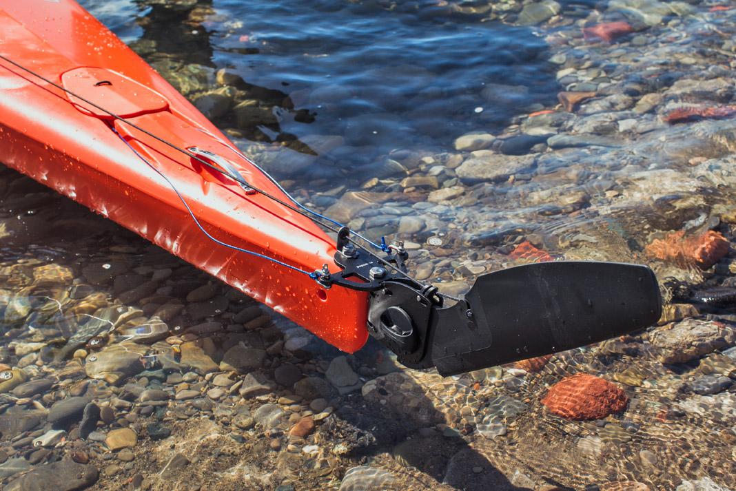 Rudder of orange kayak