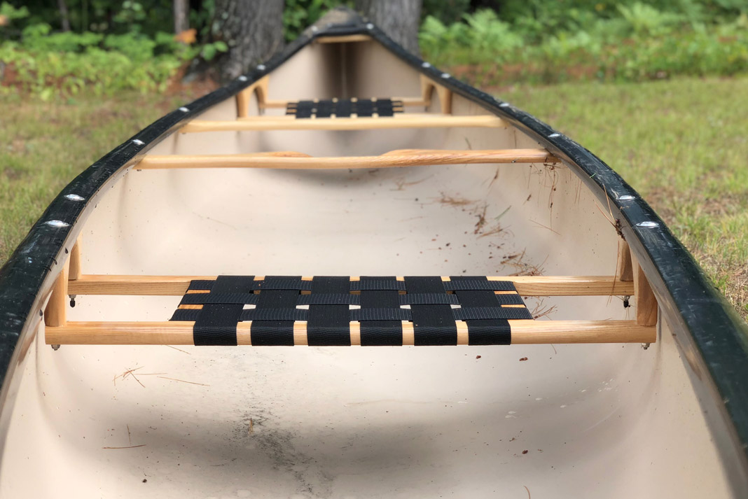 a view of Esquif Canoe's Huron canoe seats and interior