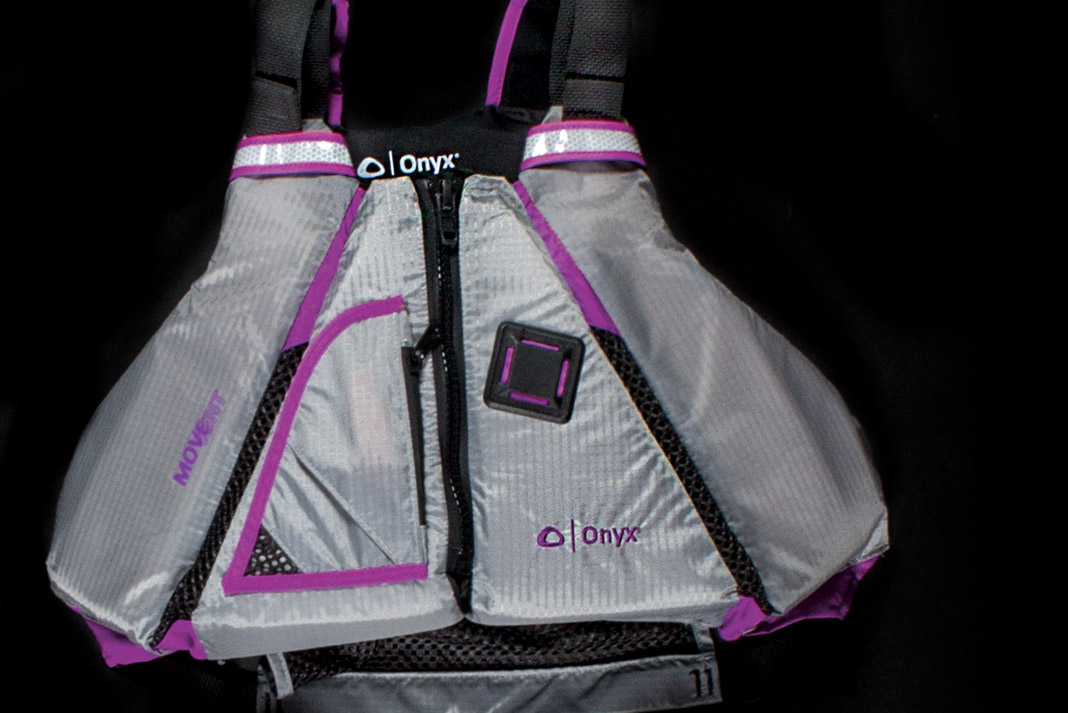 grey and purple life jacket