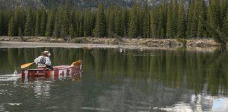 Mike Ranta paddling his canoe with his dog