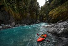 kayaker looking up river