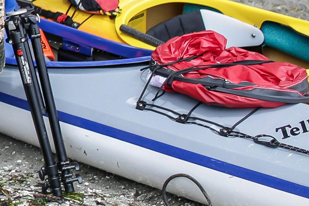 red sails on kayak