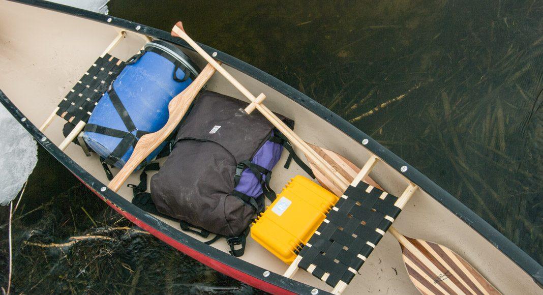 canoe gear inside of a prospecteur canoe