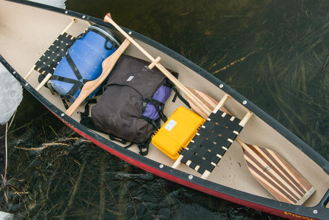 canoe gear inside of a prospecteur 15 canoe