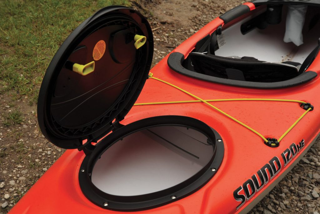 inside a recreational kayak