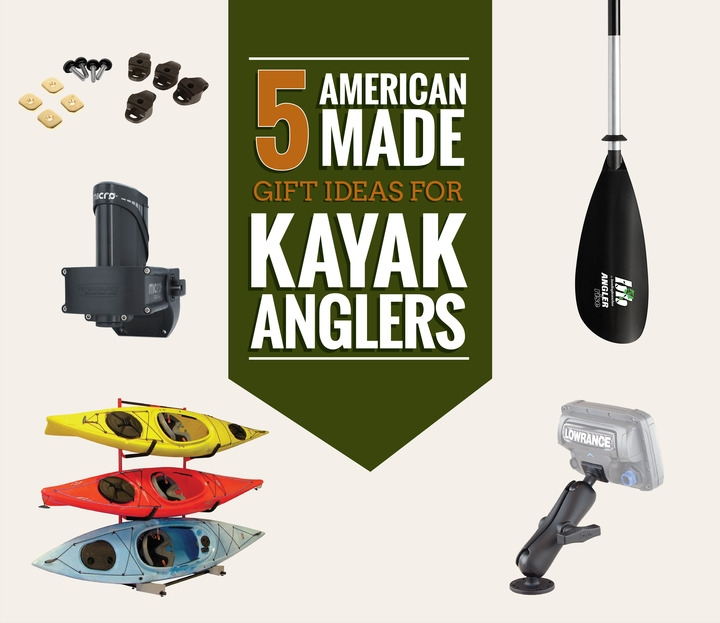 Images of american made gift ideas for kayak anglers.