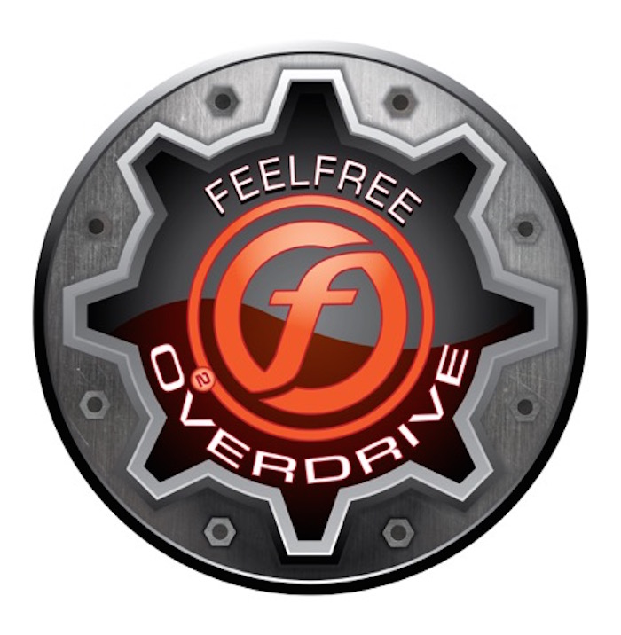 The logo for the Feelfree Overdrive logo, ready to fish.