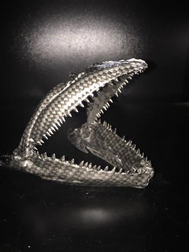 Get your fish's jaws or skull covered in carbon fiber artwork.