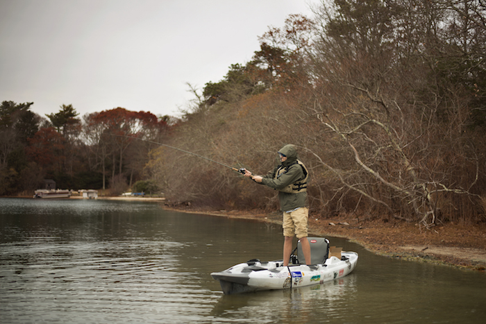 Man demonstrates how to cast a baitcaster from a standup position
