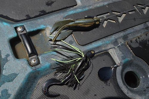 "Juan Veruete's go-to muddy water baits, a 4 inch ""Bubba Craw"" and Winco's Custom spinnerbait."