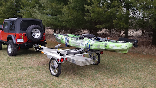 Craig Hefner's kayak fishing trailer is hitched up to a Jeep
