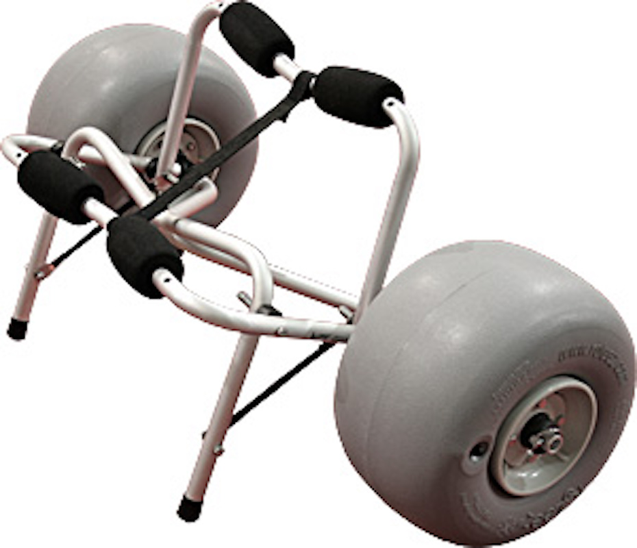 Image of the Wheeleez kayak cart with inflatable tires.