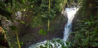 Peter Civrny drops the waterfall Dirty Sanchez in his kayak in Mexico