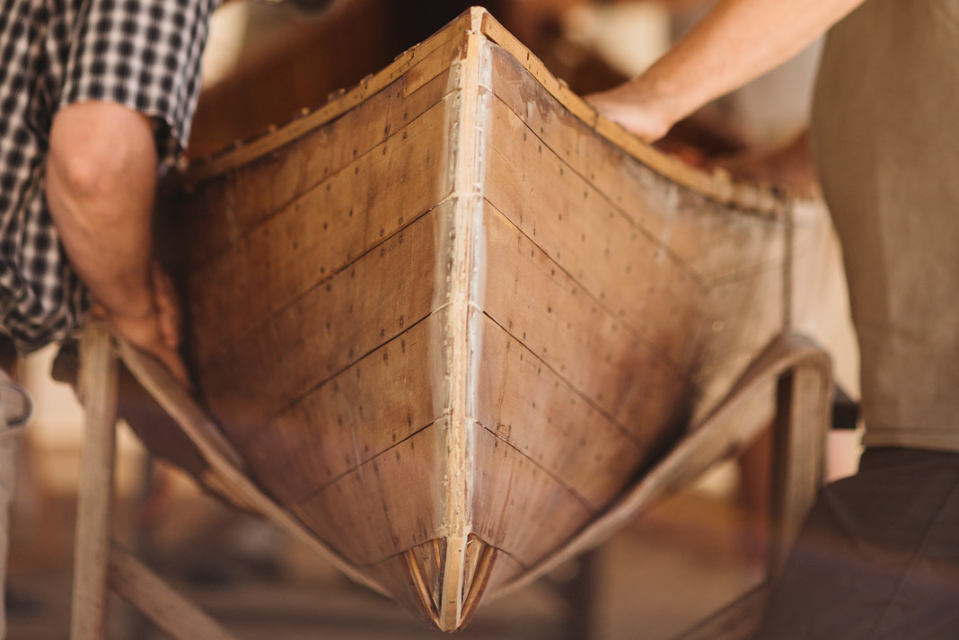 Bow view of a wooden canoe