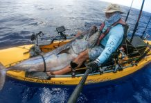Kayak fisherman Raf Vargas showing his record breaking dogtooth tuna