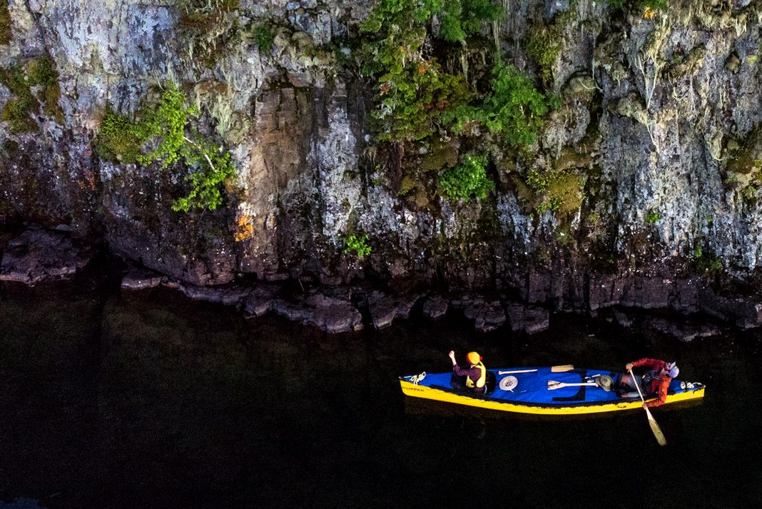 two people canoeing on Lake Superior