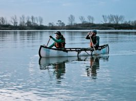 Kaydi Pyette and Geoff Whitlock paddling MyCanoe's folding Plus Model Canoe