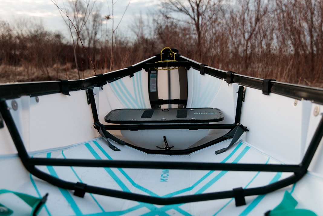 a view of MyCanoe's folding canoe interior after being unfolded