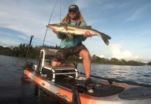 kayak fisherman holding a large snook fish