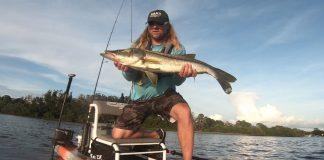kayak fisherman holding a large snook fish