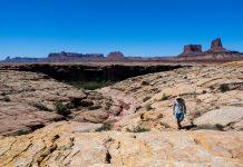 man walking the Wind River Range in Wyoming
