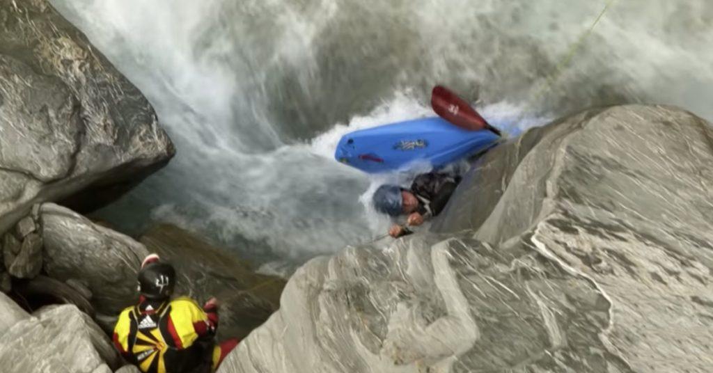Jordy Searle trapped in sieve in Nevis Bluff Rapids