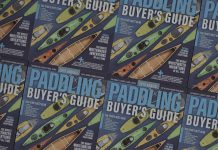 a stack of Paddling Buyer's Guides all side by side