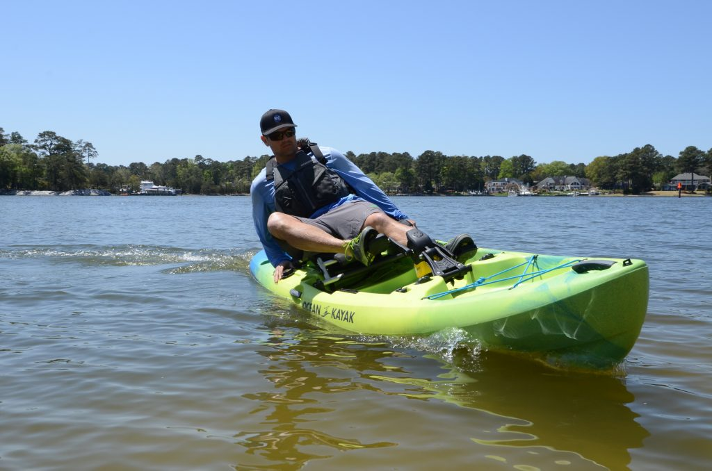 Testing the turning radius on the Ocean Kayak Malibu Pedal