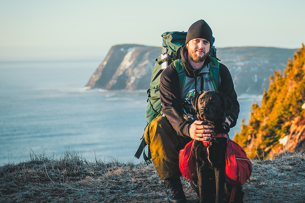 Justin Barbour and his dog Saku in Newfoundland