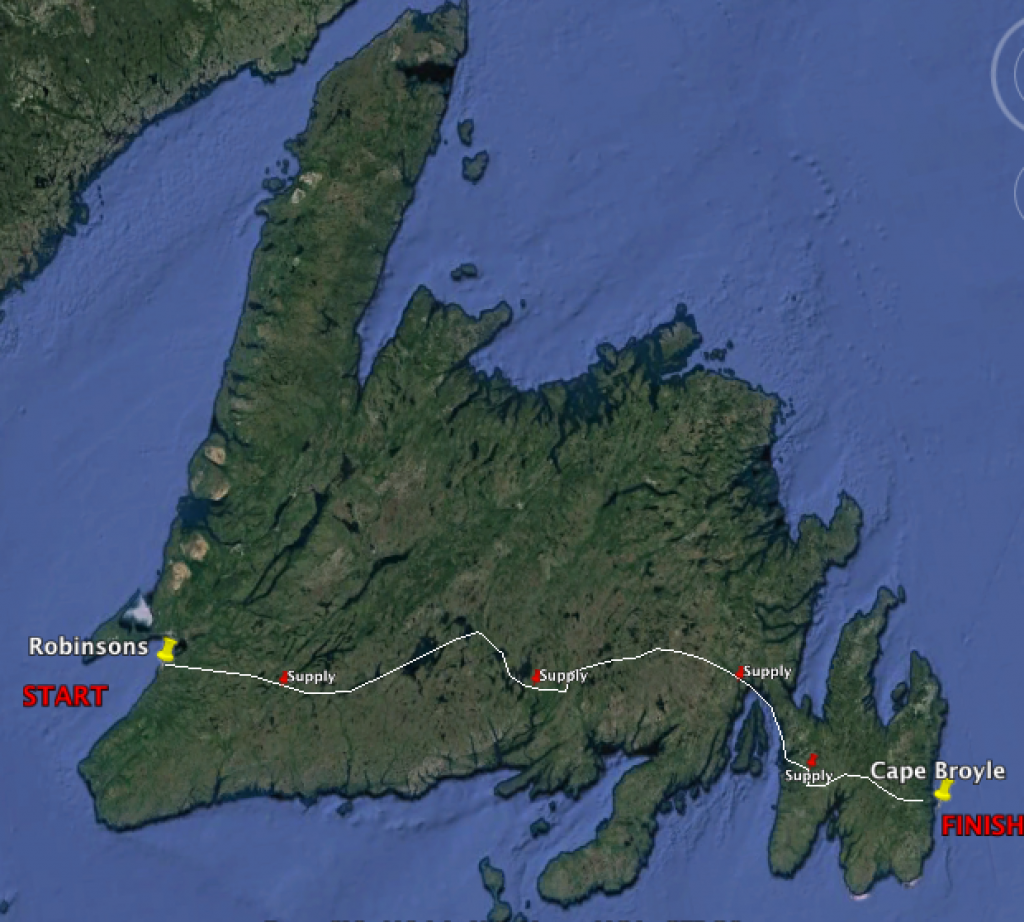 Map of Justin Barbour's Newfoundland Crossing