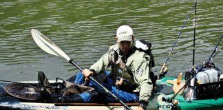Kayak angler paddling quietly