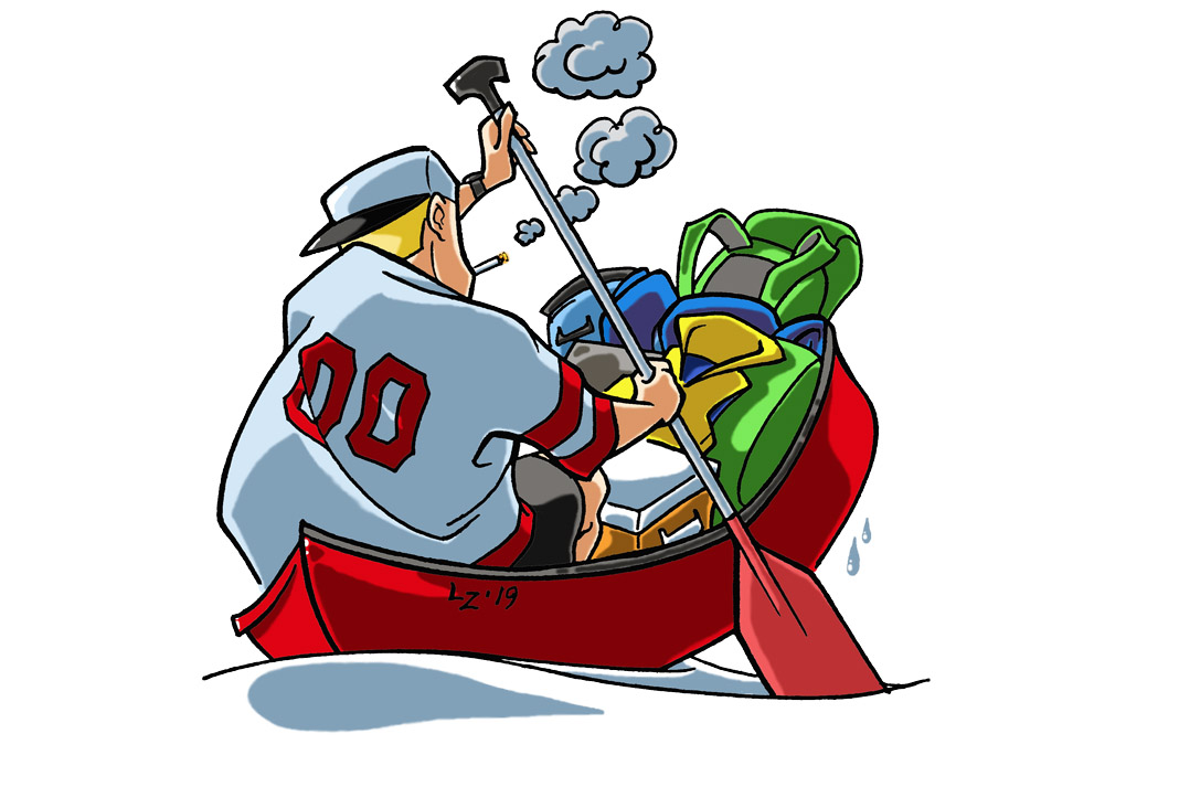 an illustration of a man wearing no life jacket paddling a canoe stuffed with gear and smoking a cigarette