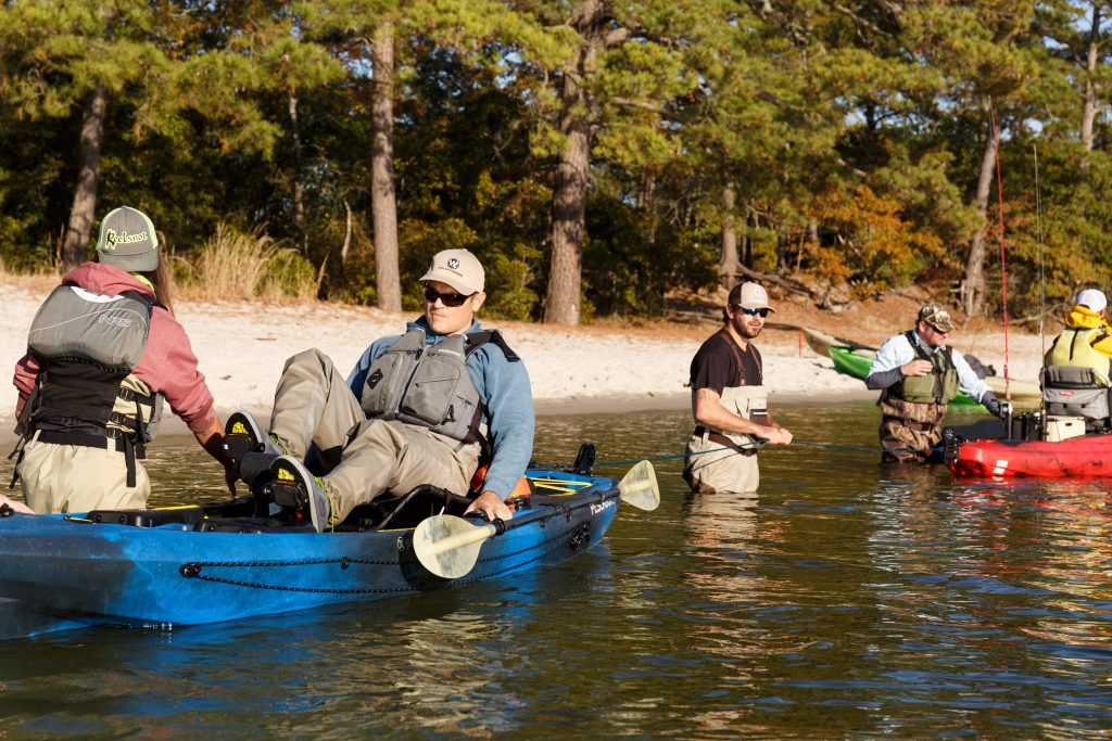 anglers setting up a pedal kayak tug-of-war